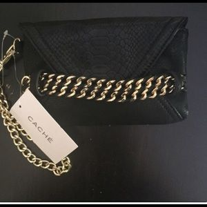 Black clutch purse handheld red interior